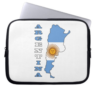 Flag in Map of Argentina Computer Sleeves