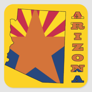 Flag in Map of Arizona Square Sticker