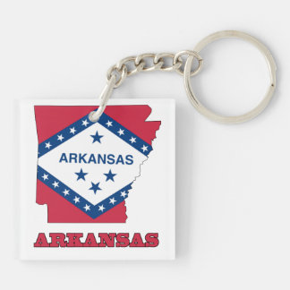Flag in Map of Arkansas Keychain