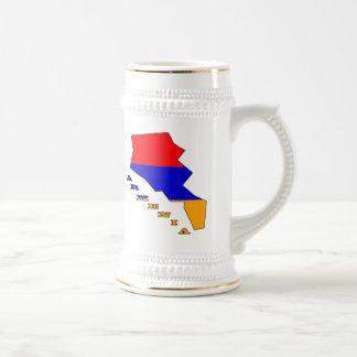 Flag in Map of Armenia 18 Oz Beer Stein