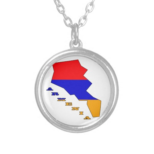 Flag in Map of Armenia Round Pendant Necklace