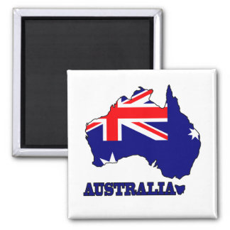 Flag in Map of Australia 2 Inch Square Magnet