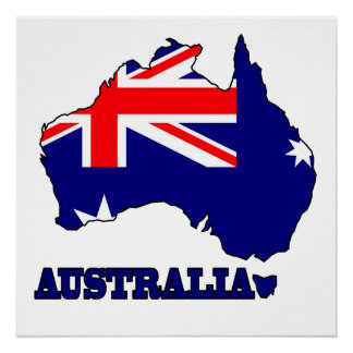Flag in Map of Australia Poster