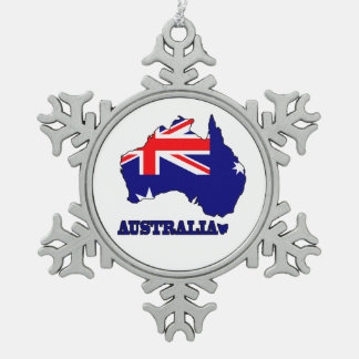 Flag in Map of Australia Snowflake Pewter Christmas Ornament