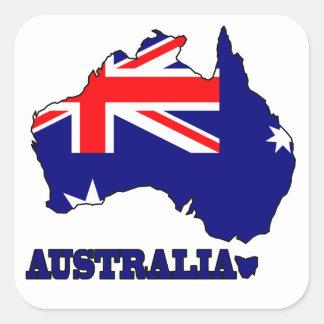 Flag in Map of Australia Square Sticker