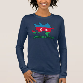 Flag In Map of Azerbaijan Long Sleeve T-Shirt