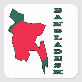 Flag in Map of Bangladesh Square Sticker