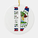 Flag in Map of Belize Christmas Tree Ornament
