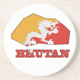 Flag in Map of Bhutan Drink Coaster