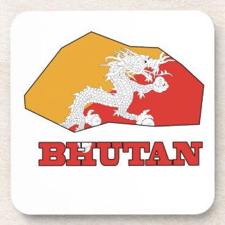 Flag in Map of Bhutan Beverage Coaster