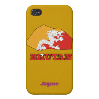 Flag in Map of Bhutan iPhone 4/4S Case