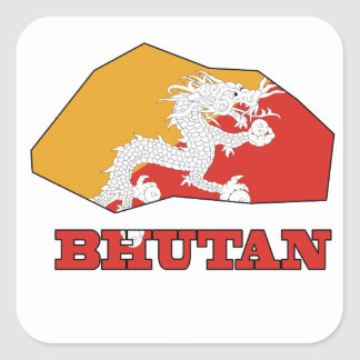 Flag in Map of Bhutan Sticker