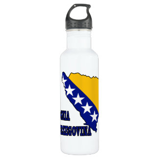 Flag in Map of Bosnia Herzegovina Stainless Steel Water Bottle
