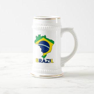 Flag in Map of Brazil Beer Stein