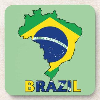 Flag in Map of Brazil Beverage Coaster
