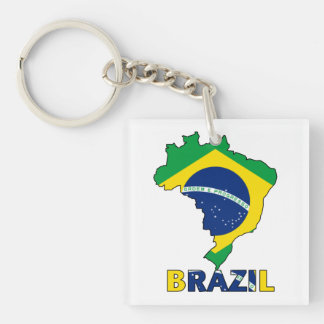 Flag in Map of Brazil Double-Sided Square Acrylic Keychain