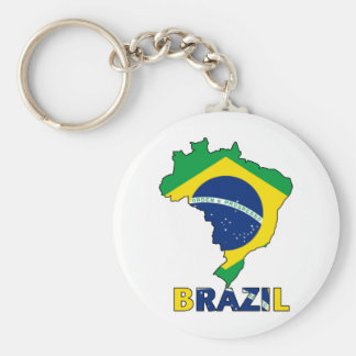 Flag in Map of Brazil Keychain