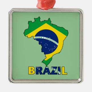 Flag in Map of Brazil Metal Ornament