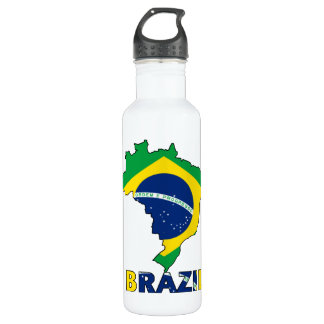 Flag in Map of Brazil Stainless Steel Water Bottle
