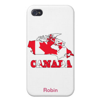 Flag in Map of Canada iPhone 4 Cases