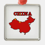 Flag in Map of China Christmas Ornament
