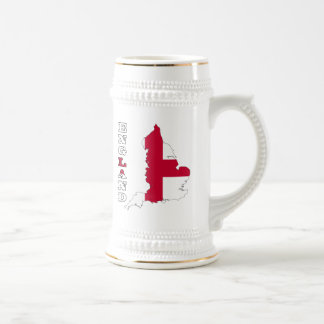 Flag in Map of England Beer Stein