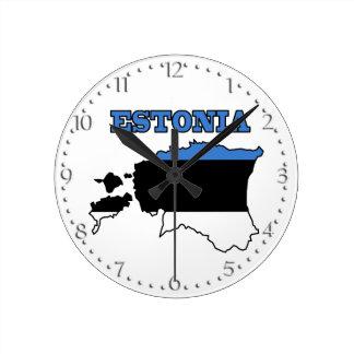 Flag in Map of Estonia Clocks