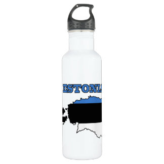 Flag in Map of Estonia Water Bottle