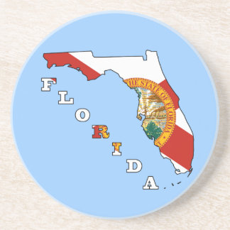 Flag in Map of Florida Beverage Coasters