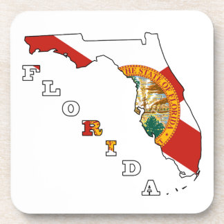 Flag in Map of Florida Drink Coasters