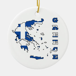 Flag in Map of Greece Ceramic Ornament
