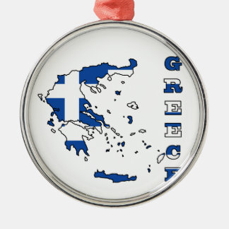 Flag in Map of Greece Metal Ornament