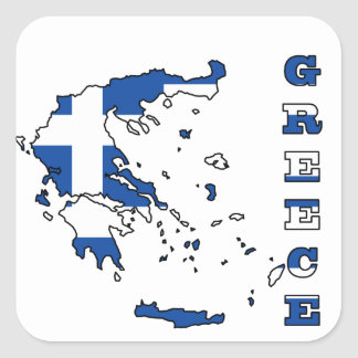 Flag in Map of Greece Square Sticker