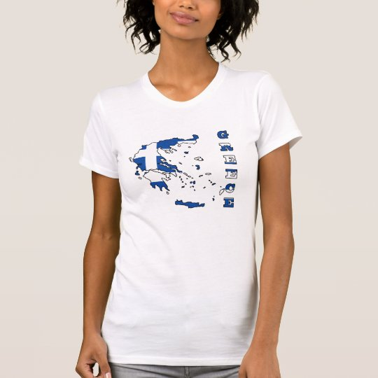 Flag in Map of Greece T-Shirt