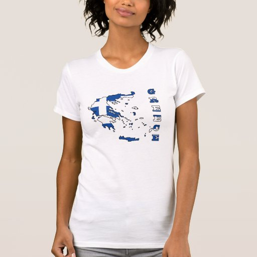 Flag in Map of Greece Tees