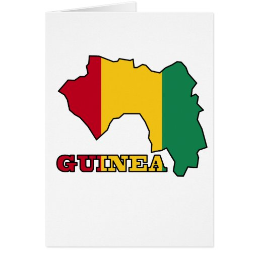 Flag in Map of Guinea Cards