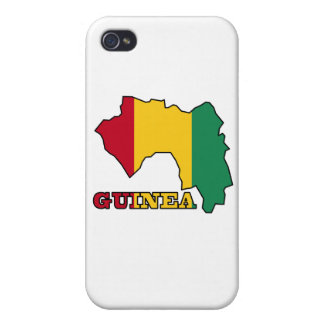 Flag in Map of Guinea Covers For iPhone 4