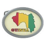 Flag in Map of Guinea Oval Belt Buckle
