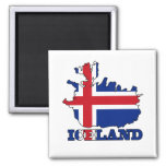 Flag in Map of Iceland 2 Inch Square Magnet