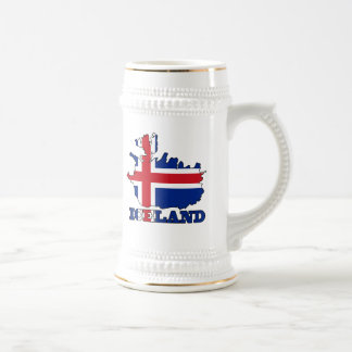 Flag in Map of Iceland Beer Stein