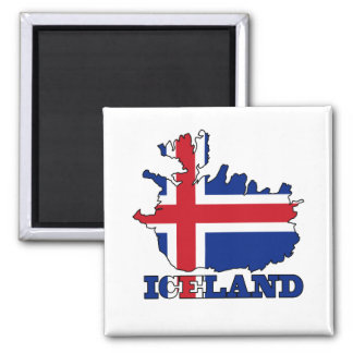 Flag in Map of Iceland Magnet