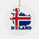 Flag in Map of Iceland Double-Sided Ceramic Round Christmas Ornament