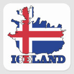 Flag in Map of Iceland Square Sticker