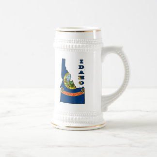 Flag in Map of Idaho 18 Oz Beer Stein