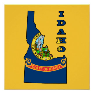 Flag in Map of Idaho Poster