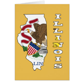 Flag in Map of Illinois Card