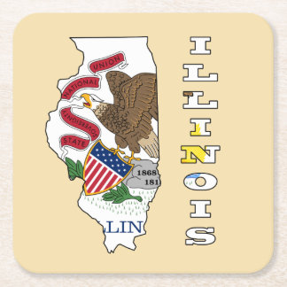 Flag in map of Illinois Square Paper Coaster