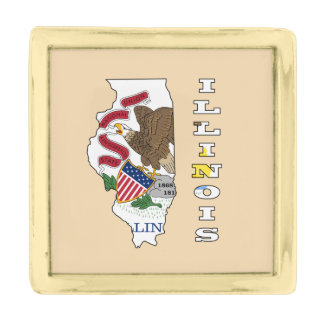 Flag in map of Illinois Gold Finish Lapel Pin