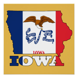 Flag in Map of Iowa Poster