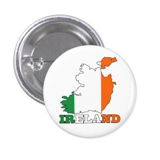 Flag in Map of Ireland 1 Inch Round Button
